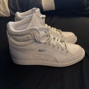 Puma white hightop sneakers size 5